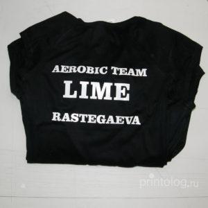 Печать на футболках для команды по аэробики